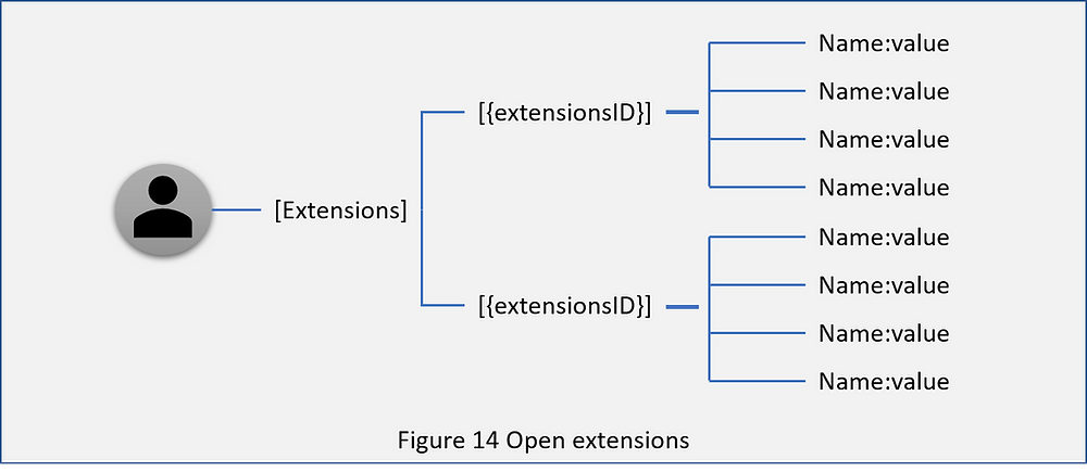 Illustrates the Azure AD open extensions namespace