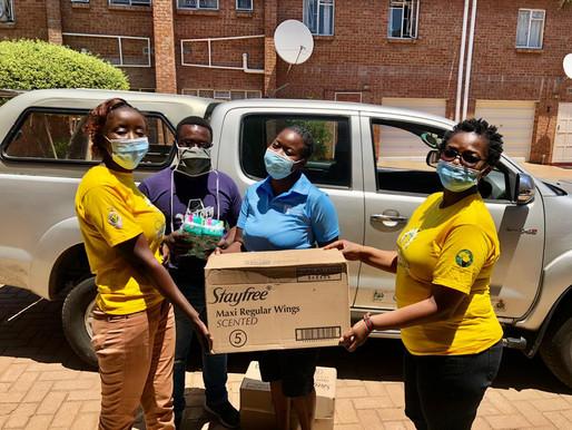 Reusable pads donations in Bulawayo.