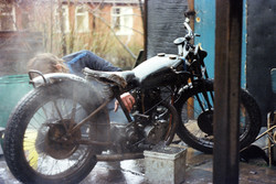 Ray aged 19 Cleaning his Rudge Racer