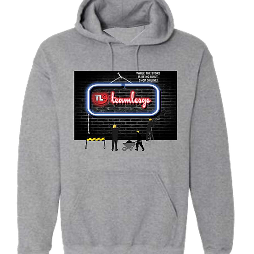 Team Les Go Shop Online Hoodie with a barcode on the back