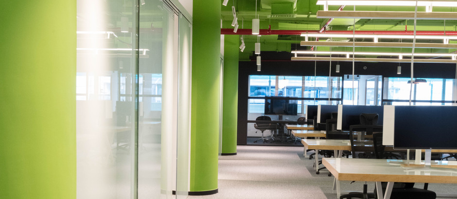 Bright Yellow & Green Lanes have been Introduced as Skin for this Workplace in Bangalore