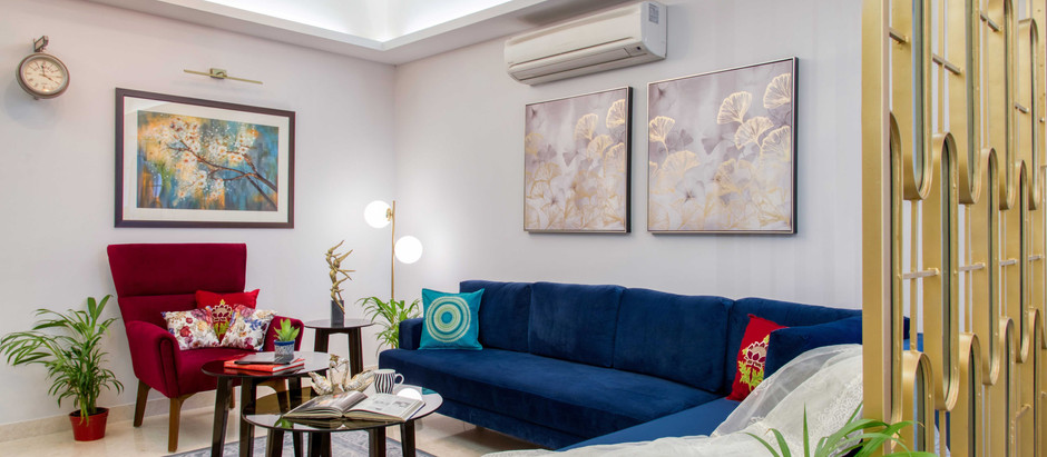 Clean Lines, Geometric Patterns and Bold Splashes of Color Feature in this Residence in Gurugram
