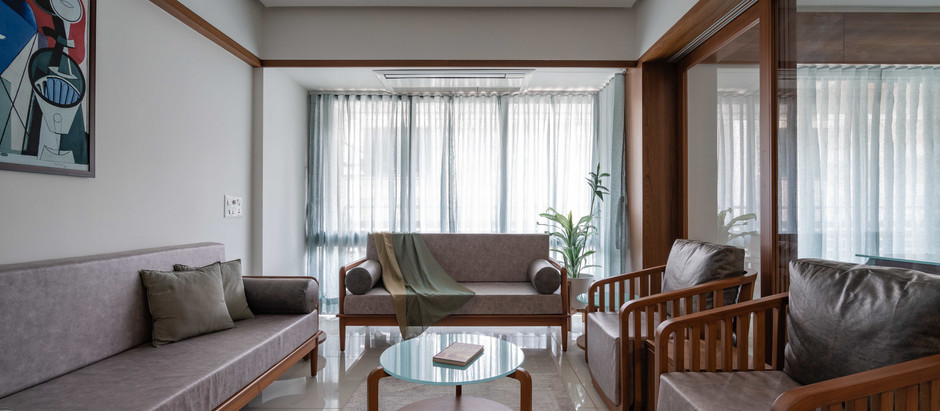 Accent Aqua Blends Perfectly With the Warmth of Wood for this Minimalistic Ahmedabad Home