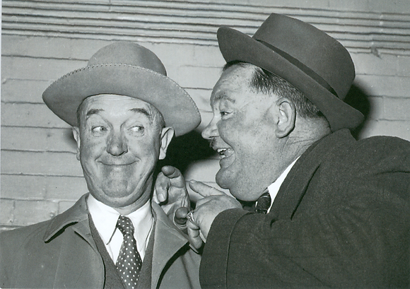 Postkarte: Laurel & Hardy privat