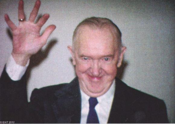 Postkarte: Stan Laurel: Abschiedswinken