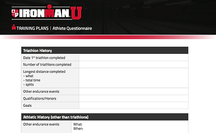 IRONMAN U Athlete Questionnaire