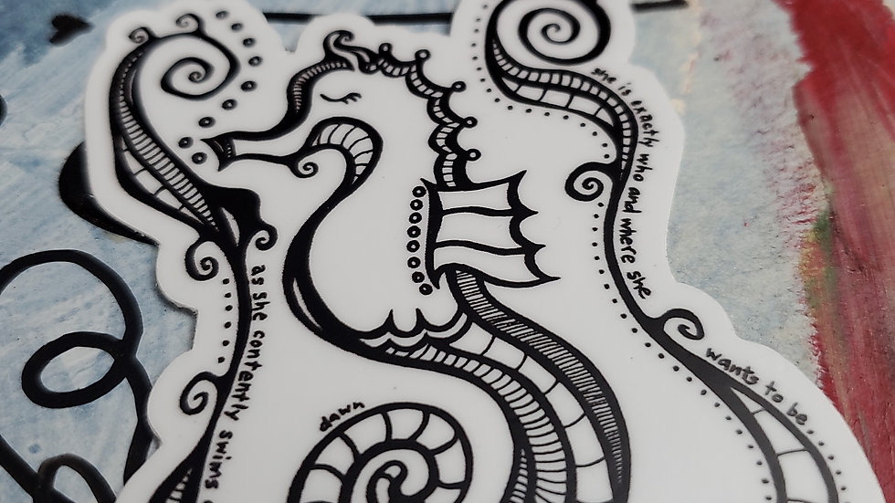"""Who and Where"" Seahorse Vinyl Sticker"