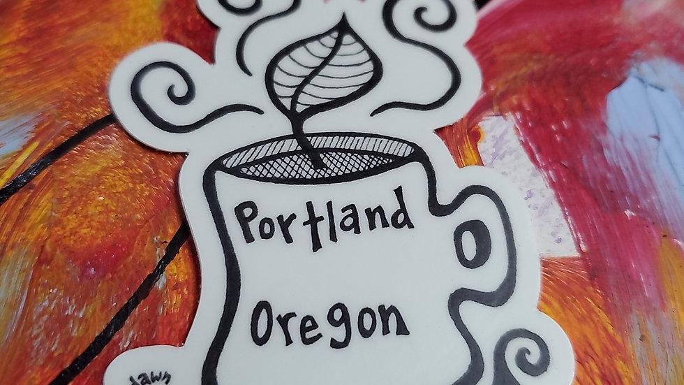 """""""Ground Yourself Here"""" Portland Vinyl Sticker"""
