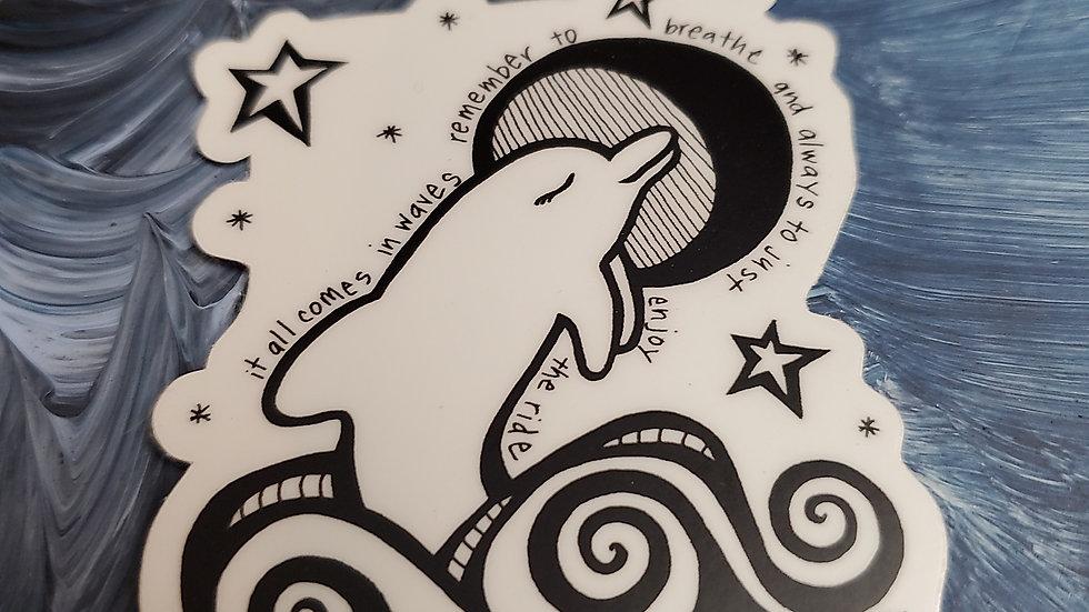 """""""Waves"""" Dolphin Vinyl Sticker"""
