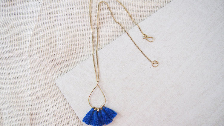Tassel Teardrop Necklace - Persian Blue