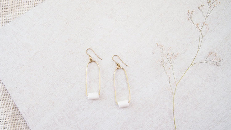 White Pendulum Earrings