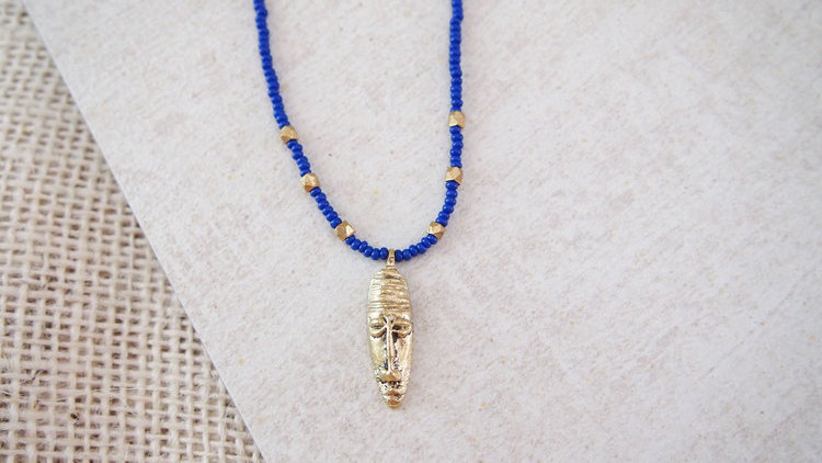 Tribal Mask Necklace - Persian Blue