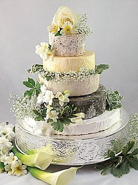 Cheese wedding cake on silver base