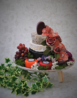 Cheese Wedding Cake with flowers and grapes