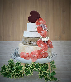 Cheese Wedding Cake with Blush Flowers