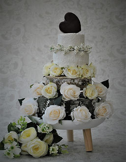 Cheese Wedding Cake with Heart and Flowers