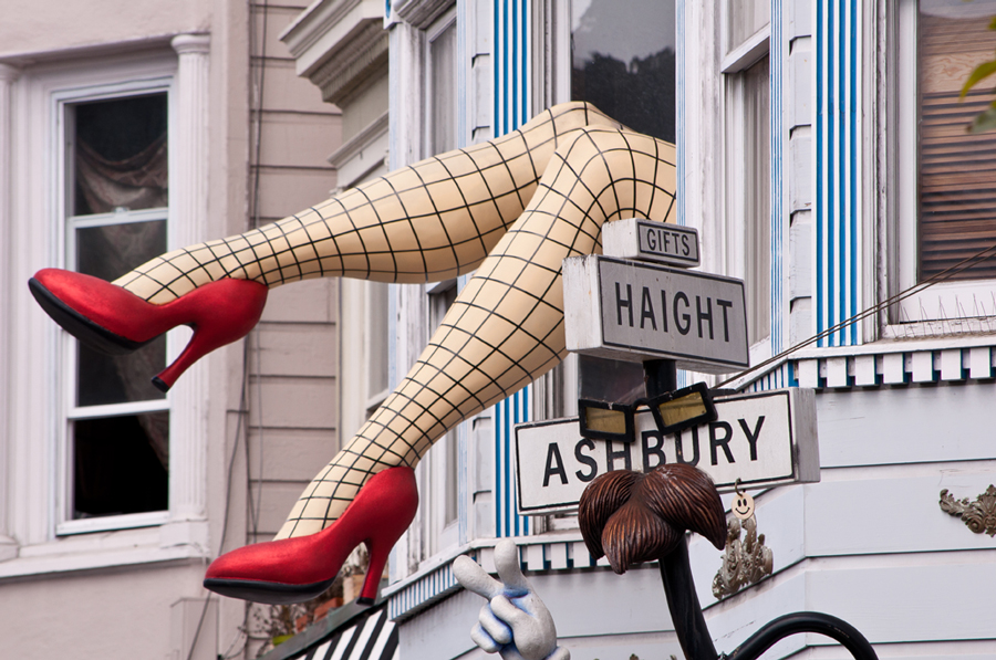 Haight Ashbury with fishnet legs