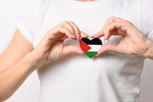 Flag of Palestine in the shape of a hear