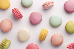 Macarons pattern on white background. Co