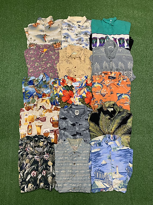 All Over Print Button Up/Down Polo Collard Shirts 15 Wholesale Bundle Lot