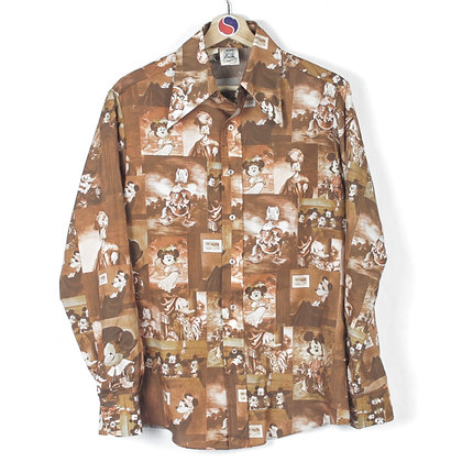 90's Mickey Mouse All Over Print Button Down - M