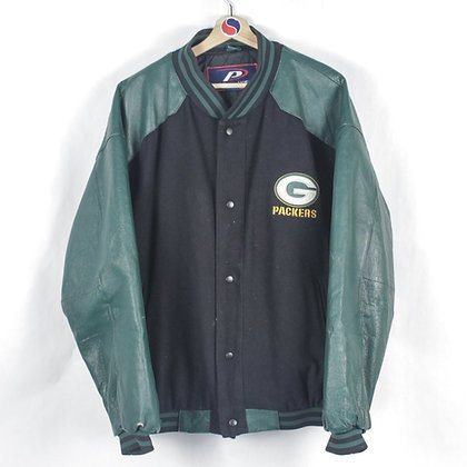 Green Bay Packers Leather Jacket - XL
