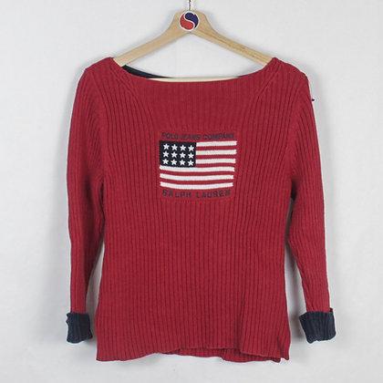 Vintage Women's Ralph Lauren Polo Jeans USA Flag Sweater - L (S)