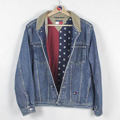 Vintage Tommy Hilfiger American Flag Lined Denim Jacket - L