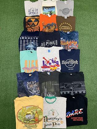 Assorted Tee T-shirt 18 Item Wholesale Bundle Lot (Hard Rock, DARE, Animals)