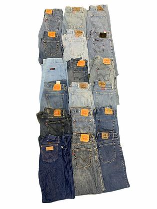 90's 2000's Men's Denim Jean Pants 18 Item Wholesale Bundle Lot Levi's Wrangler