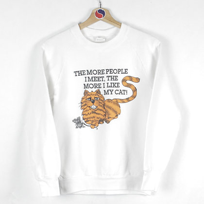 90's The More People I Meet, The More I Like My Cat Crewneck - S (XS)