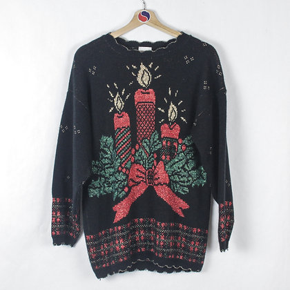90's Holiday Candles Sweater - M