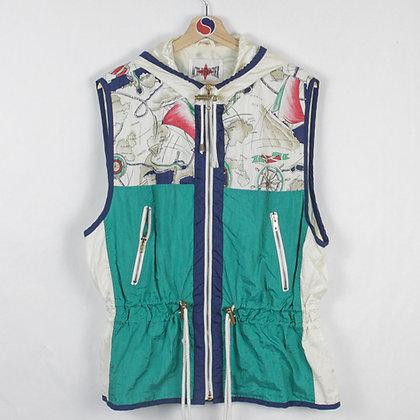 Women's Vintage Nautical Windbreaker Vest - XL (M-L)