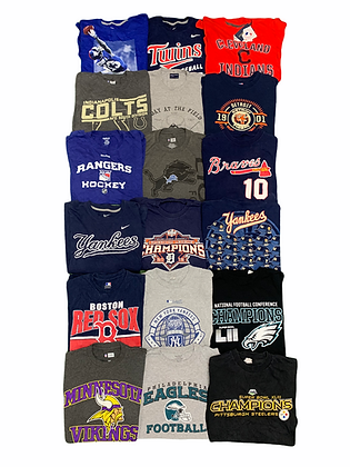 Pro Sports Tee T-shirt 18 Item Wholesale Bundle Lot (Steelers, Eagles, Vikings)