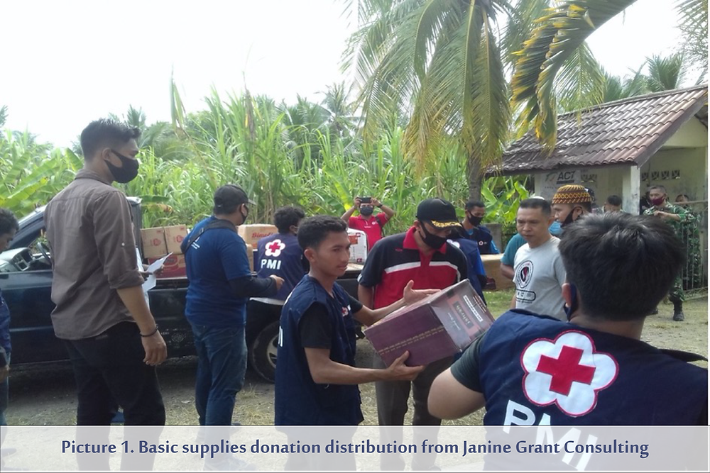 Picture 1. Basic supplies donation distribution from Janine Grant Consulting