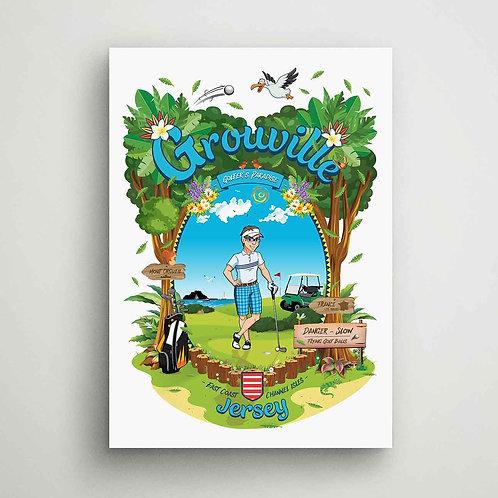 Grouville Golfer's Paradise Canvas Print Jersey
