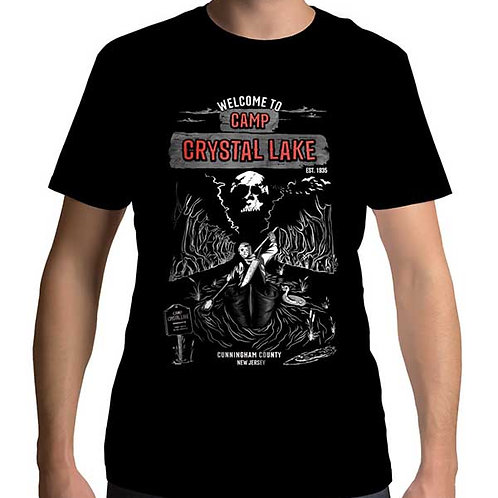 Men's regular full frontal black t-shirt of Camp Crystal Lake