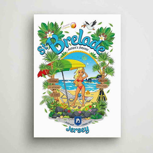 St Brelade Bather's Paradise Poster Print Jersey
