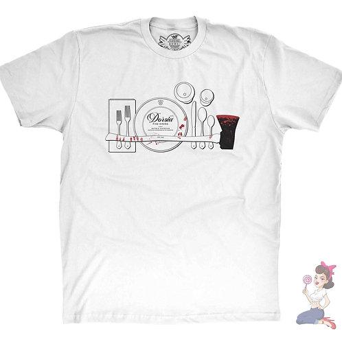 American Psycho Dorsia R.S.V.P flat white t-shirt