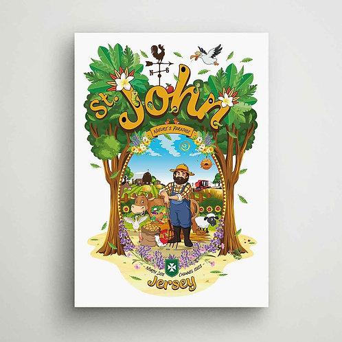 St John Nature's Paradise Canvas Print Jersey