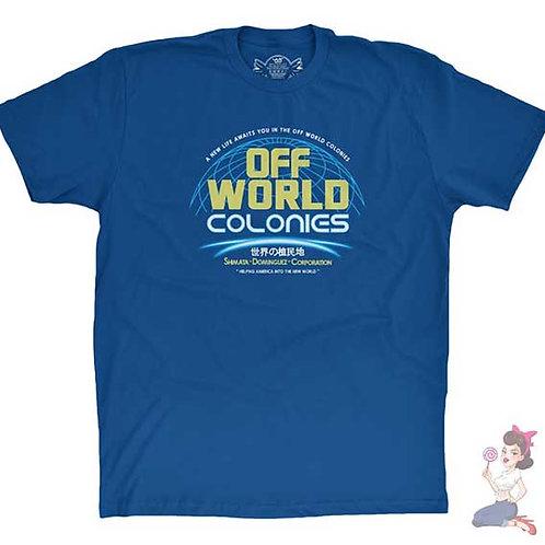Blade runner off world colonies flat blue t-shirt