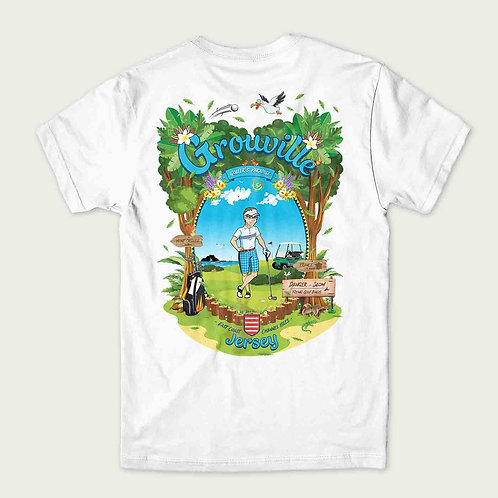 A golfer stood on a golf course in Grouville Jersey on the back of a t-shirt