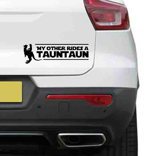A vinyl decal showing a Tauntaun from Star Wars on a rear car boot