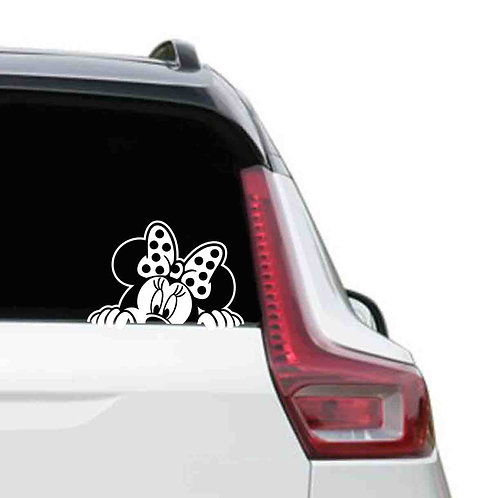 A vinyl decal showing Minnie mouse on a rear car window