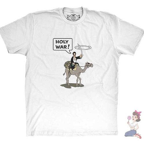Holy war holy shit flat white t-shirt