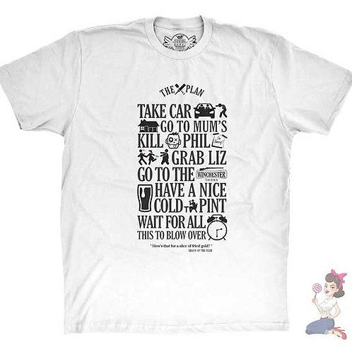 Shaun Of The Dead The Plan white flat t-shirt
