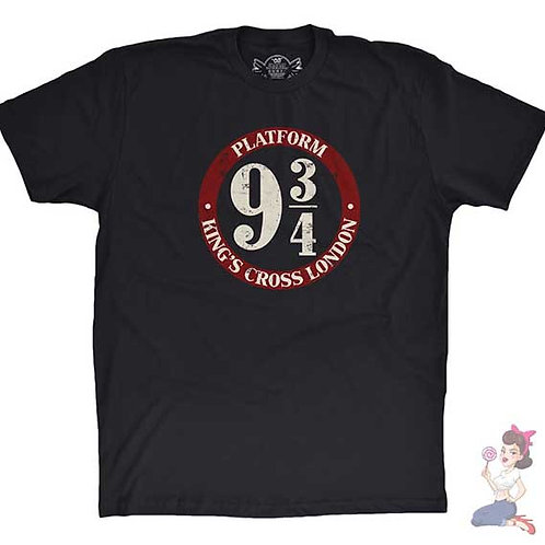 Platform Nine And Three-quarters flat black t-shirt
