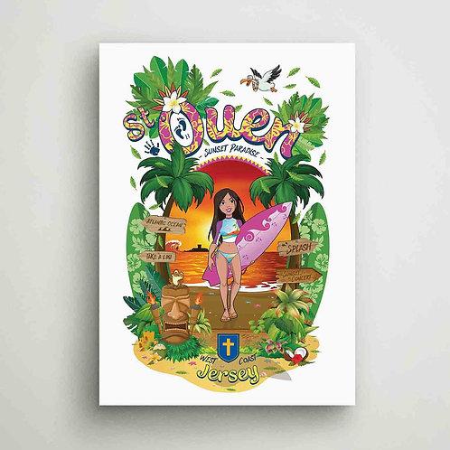 St Ouen Sunset Paradise Poster Print Jersey