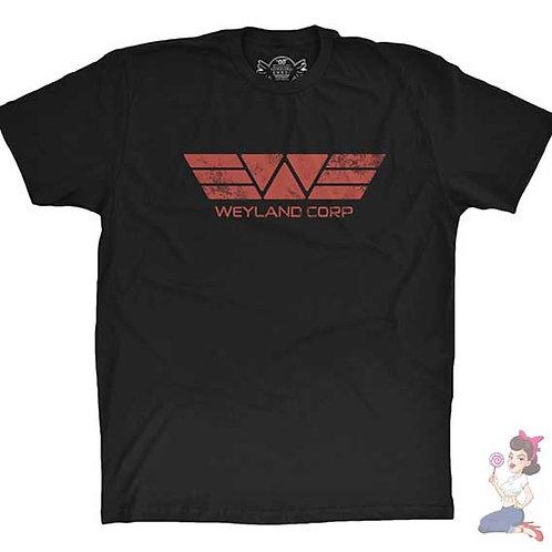 Alien Weyland Corp flat black t-shirt