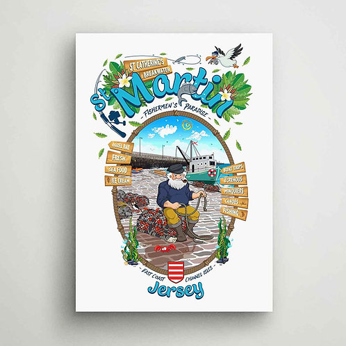 St Martin Fishermen's Paradise Canvas Print Jersey
